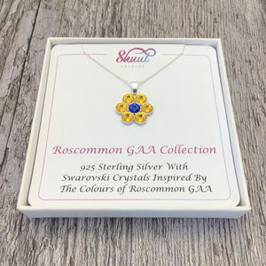 Roscommon GAA County Colours 7 Drop Sterling Silver Pendant