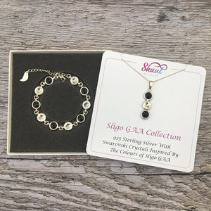 Sligo GAA Colours Sterling Silver Swarovski Necklace & Bracelet Set - Shuul