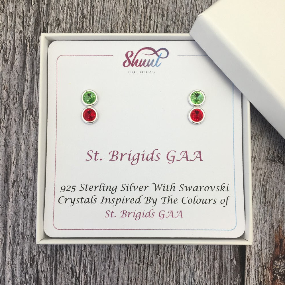 Custom GAA Club Colours Sterling Silver Earrings With Swarovski Crystals - Shuul
