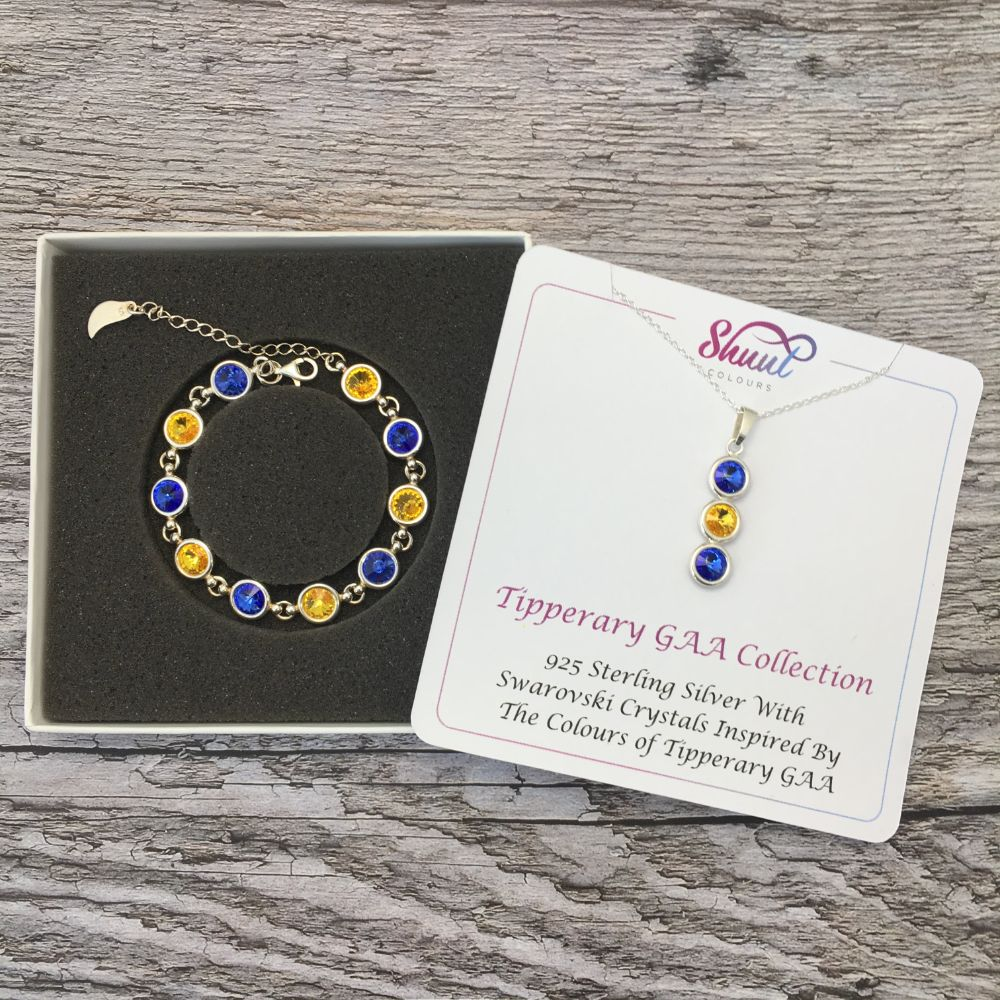 Tipperary GAA Colours Sterling Silver Swarovski Necklace & Bracelet Set