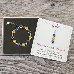 Tipperary GAA Colours Sterling Silver Swarovski Necklace & Bracelet Set - Shuul