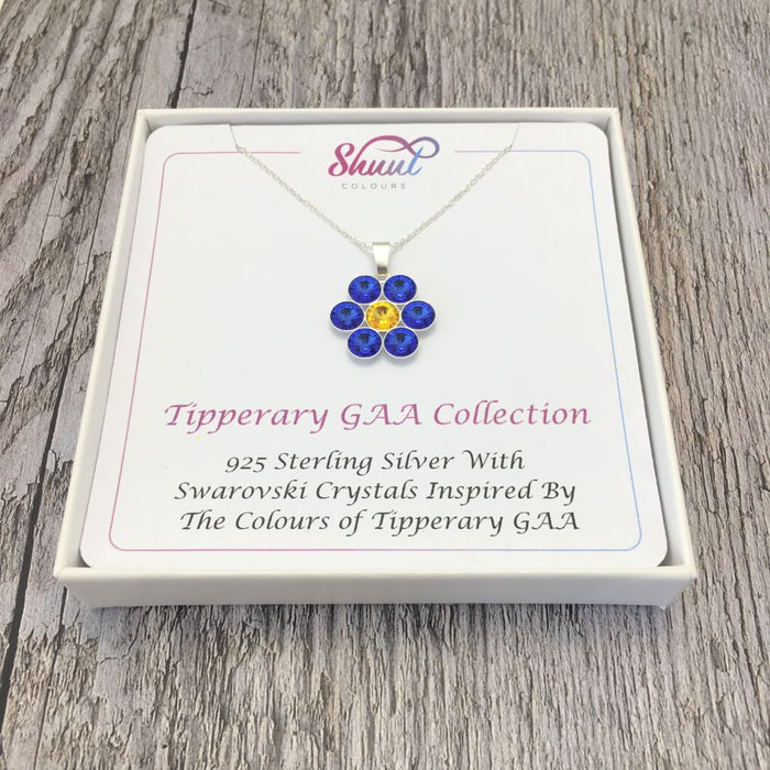 Tipperary GAA County Colours 7 Drop Sterling Silver Pendant