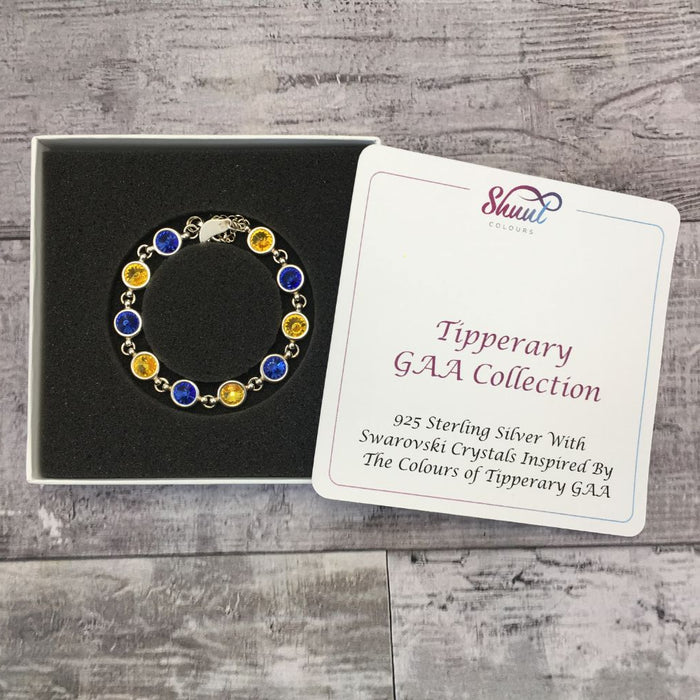 Tipperary GAA Colours Sterling Silver Swarovski Bracelet