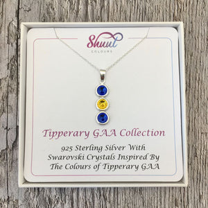 Tipperary GAA Colours Sterling Silver & Swarovski Pendant Necklace