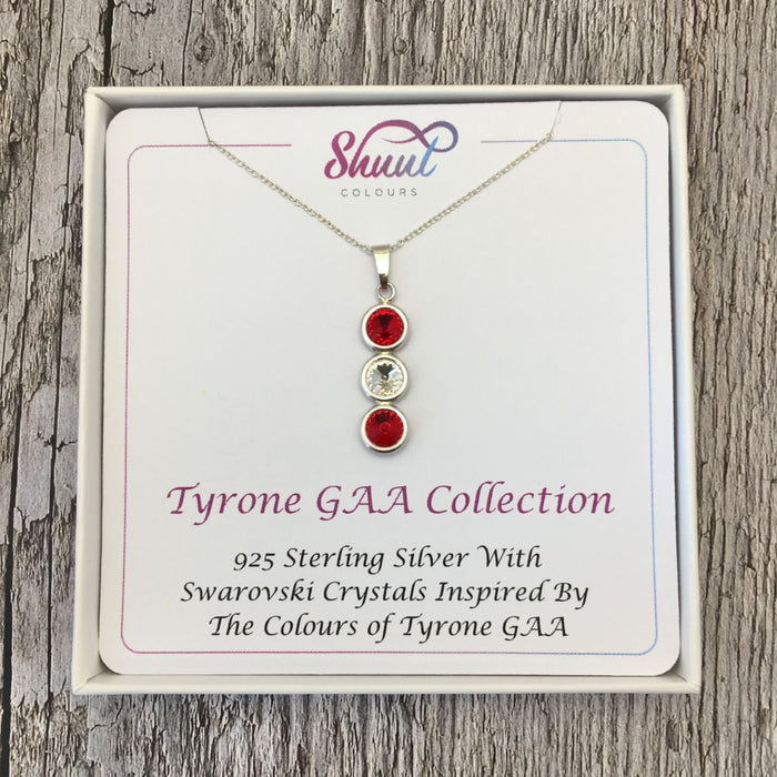 Tyrone GAA Colours Sterling Silver & Swarovski Pendant Necklace