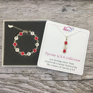 Tyrone GAA Colours Sterling Silver Swarovski Necklace & Bracelet Set - Shuul
