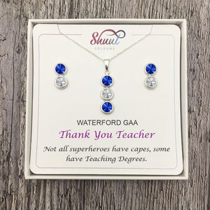 Thank You Teacher Gift - Personalised GAA County Colour Jewellery Gifts - Shuul
