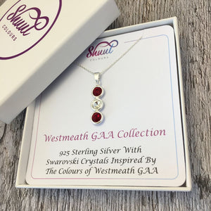 Westmeath GAA Colours Sterling Silver & Swarovski Pendant Necklace - Shuul