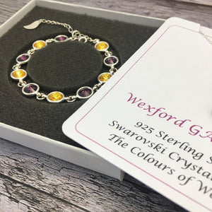 Wexford GAA Colours Sterling Silver Swarovski Necklace & Bracelet Set