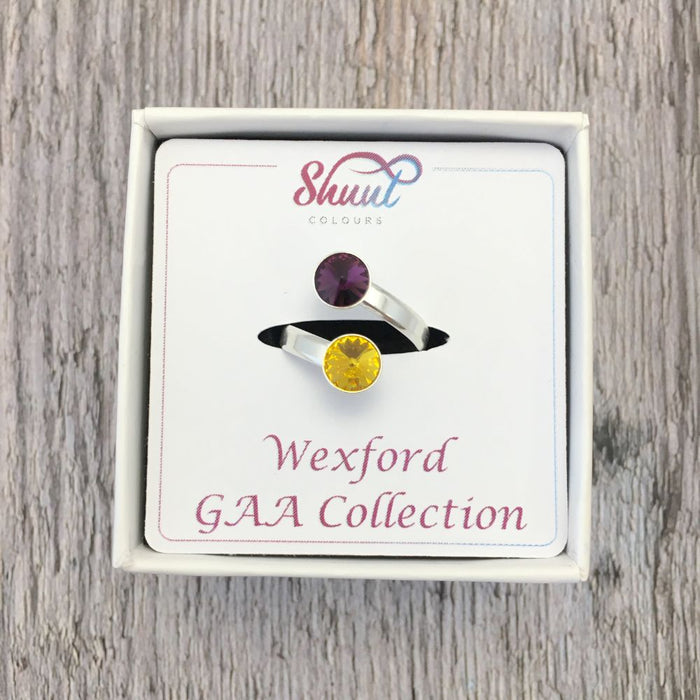 Wexford GAA Sterling Silver Ring with Swarovski Crystals