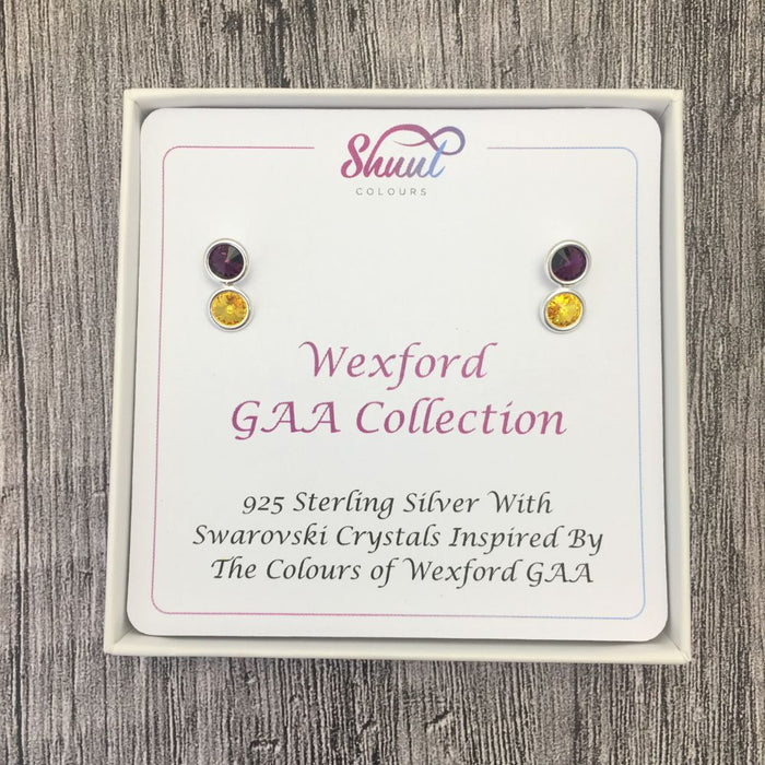 Wexford GAA Colours Sterling Silver Swarovski Earrings
