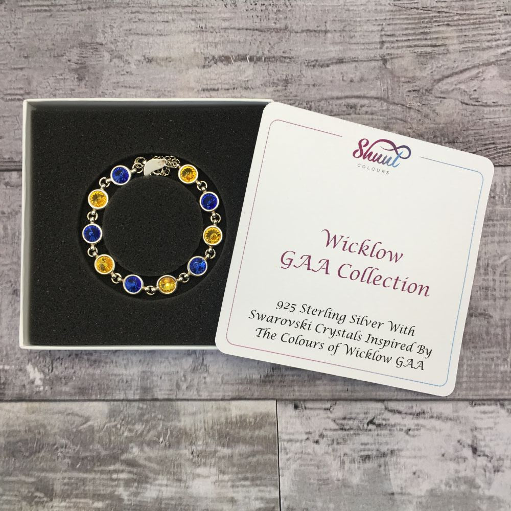 Wicklow GAA Colours Sterling Silver Swarovski Bracelet - Shuul