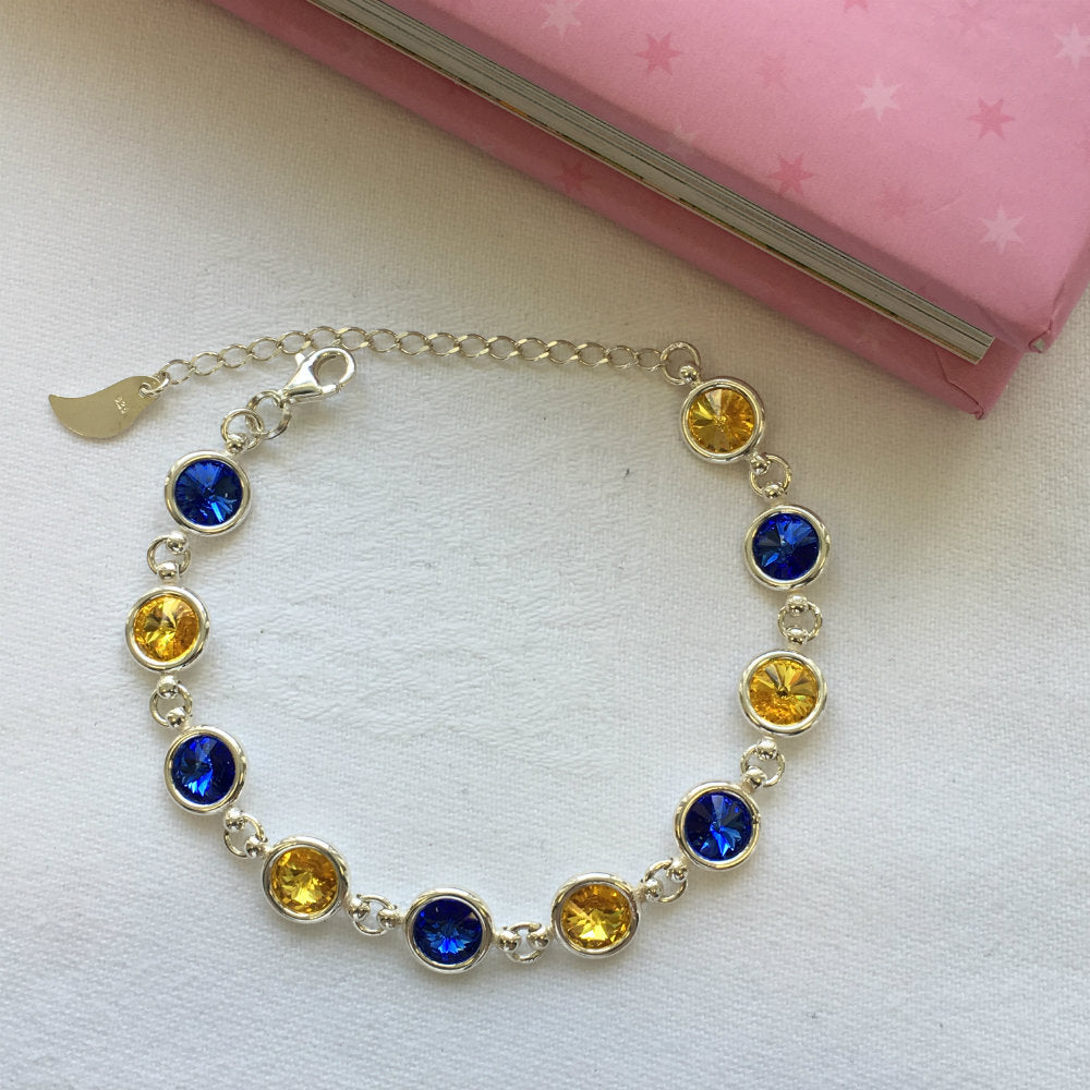 Tipperary GAA Colours Inspired Sterling Silver Bracelet With Swarovski Crystals - Shuul