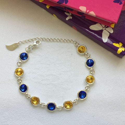 Wicklow GAA Colours Sterling Silver Swarovki Bracelet - Shuul