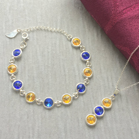 Clare GAA Colours Sterling Silver Swarovski Necklace & Bracelet Set - Shuul