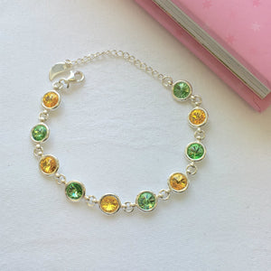 Donegal GAA Colours Inspired Sterling Silver Bracelet With Swarovski Crystals - Shuul