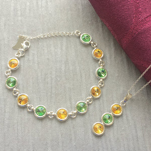 Donegal GAA Colours Sterling Silver Swarovski Necklace & Bracelet Set - Shuul
