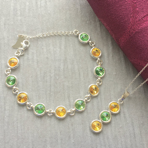 Donegal GAA Colours Inspired Sterling Silver Necklace With Pendant & Bracelet Gift Set With Genuine Swarovski Crystals - Shuul
