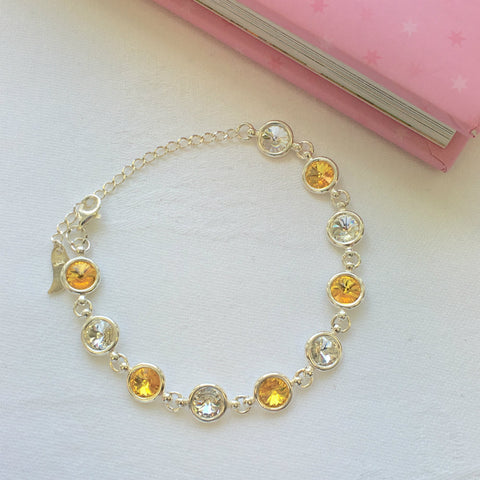 Antrim GAA Colours Inspired Sterling Silver Bracelet With Swarovski Crystals - Shuul