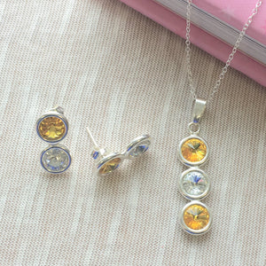 Antrim GAA Colours Inspired Sterling Silver Pendant Necklace & Earring Set With Genuine Swarovski Crystals - Shuul