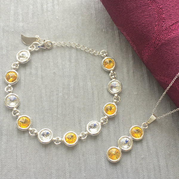 Antrim GAA Colours Inspired Sterling Silver Pendant Necklace & Bracelet Set With Genuine Swarovski Crystals - Shuul