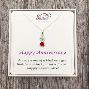 Personalised 2 Drop Sterling Silver Necklace - Anniversary Gift Idea - Shuul