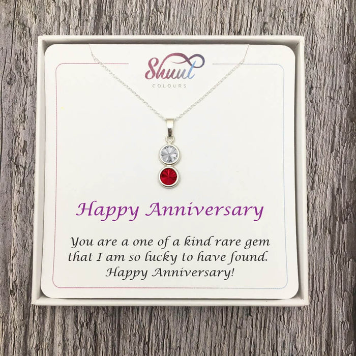 Personalised 2 Drop Sterling Silver Necklace - Anniversary Gift Idea