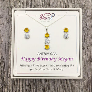 Birthday Gift Set - Personalised GAA County Colour Necklace & Earrings Gift Set - Shuul
