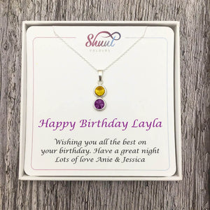 2 Drop Personalised Necklace - Birthday Jewellery Gifts For Her - Shuul