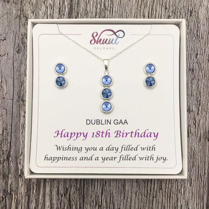 Birthday Gift Set - Personalised GAA County Colour Necklace & Earrings Gift Set