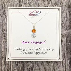 Sterling Silver Engagement Necklace - 2 Drop Silver Pendant - Shuul