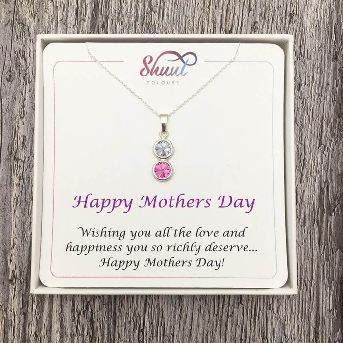 Personalised 2 Drop Pendant Necklace - Mothers Day Gift Idea For Mum