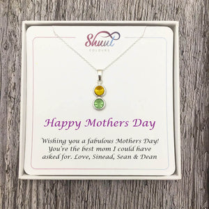 Personalised 2 Drop Pendant Necklace - Mothers Day Gift Idea For Mum - Shuul