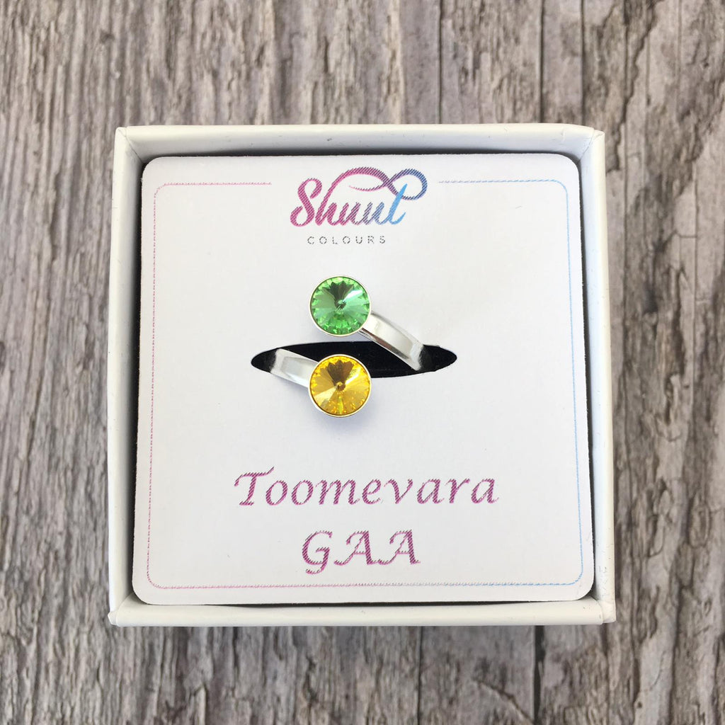 Custom GAA Club Colours Sterling Silver Adjustable Ring With Swarovski Crystals - Shuul