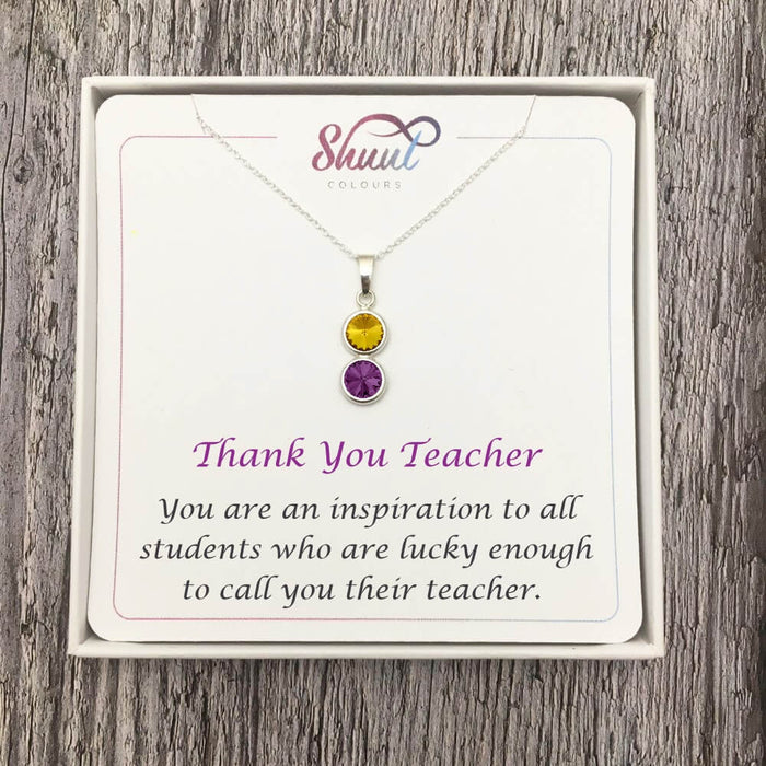 Gift For Teacher - 2 Drop Sterling Silver Necklace