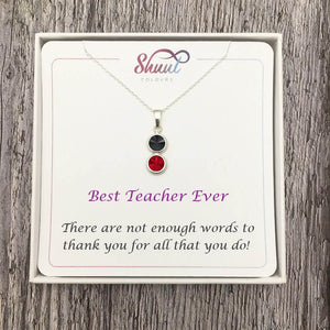 Gift For Teacher - 2 Drop Sterling Silver Necklace - Shuul