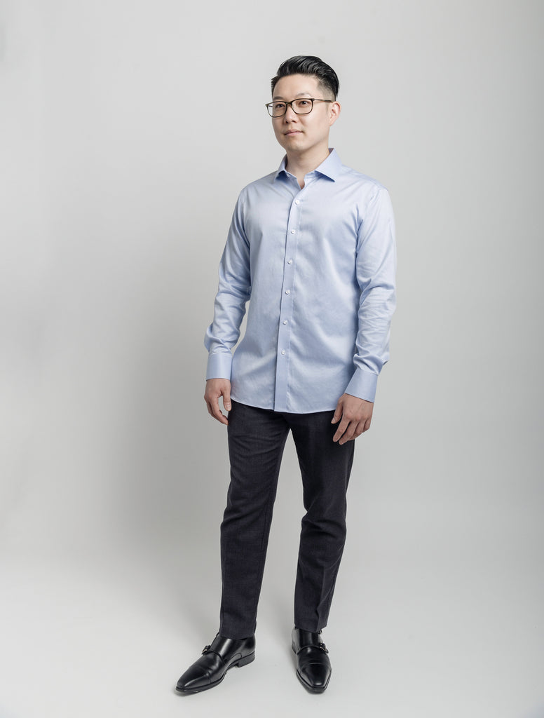 Non-Iron Ocean Blue Slim Fit - Napoleon & Company