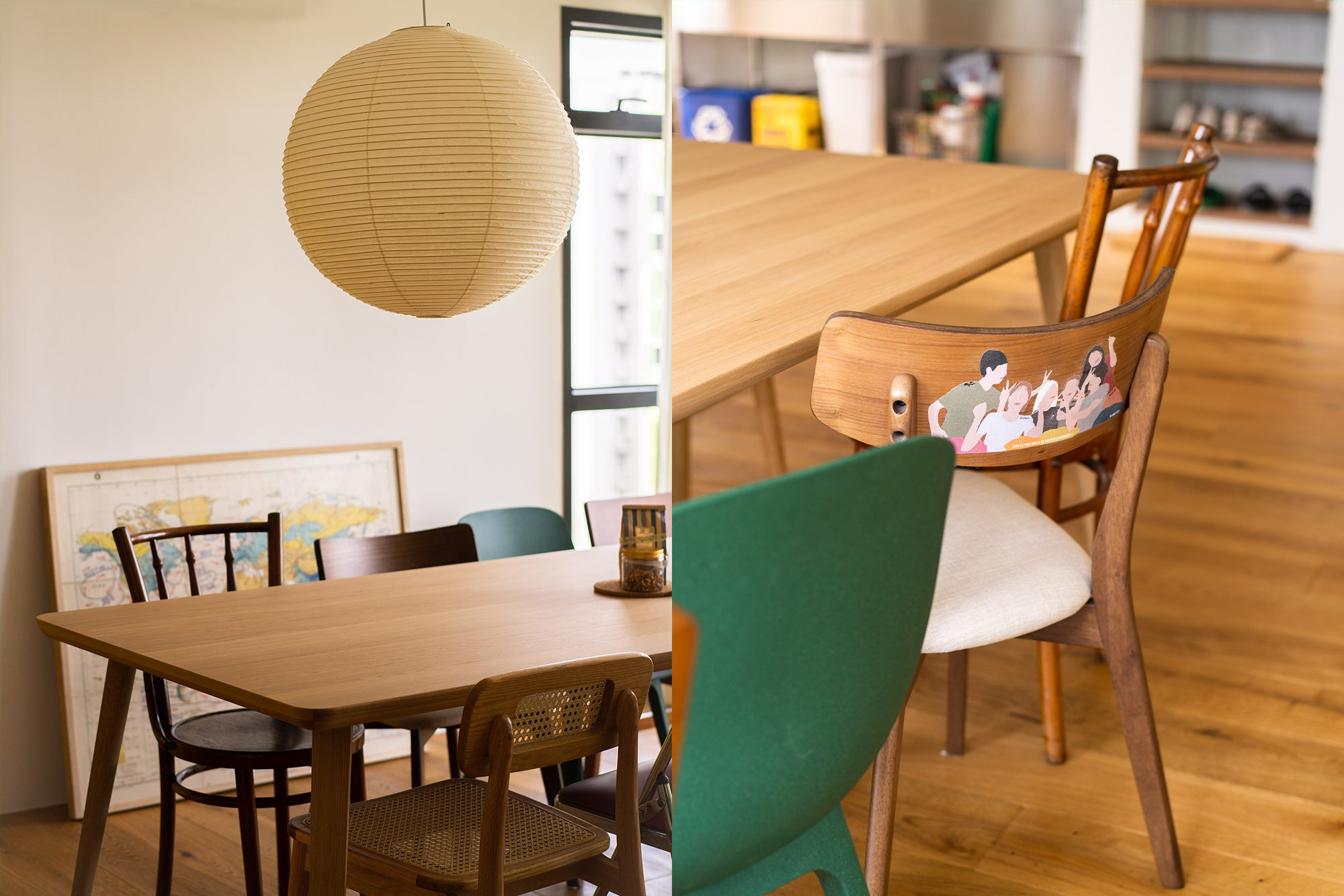 Dining Table Chair Assortment Mismatch Coworking Living Space Ideas