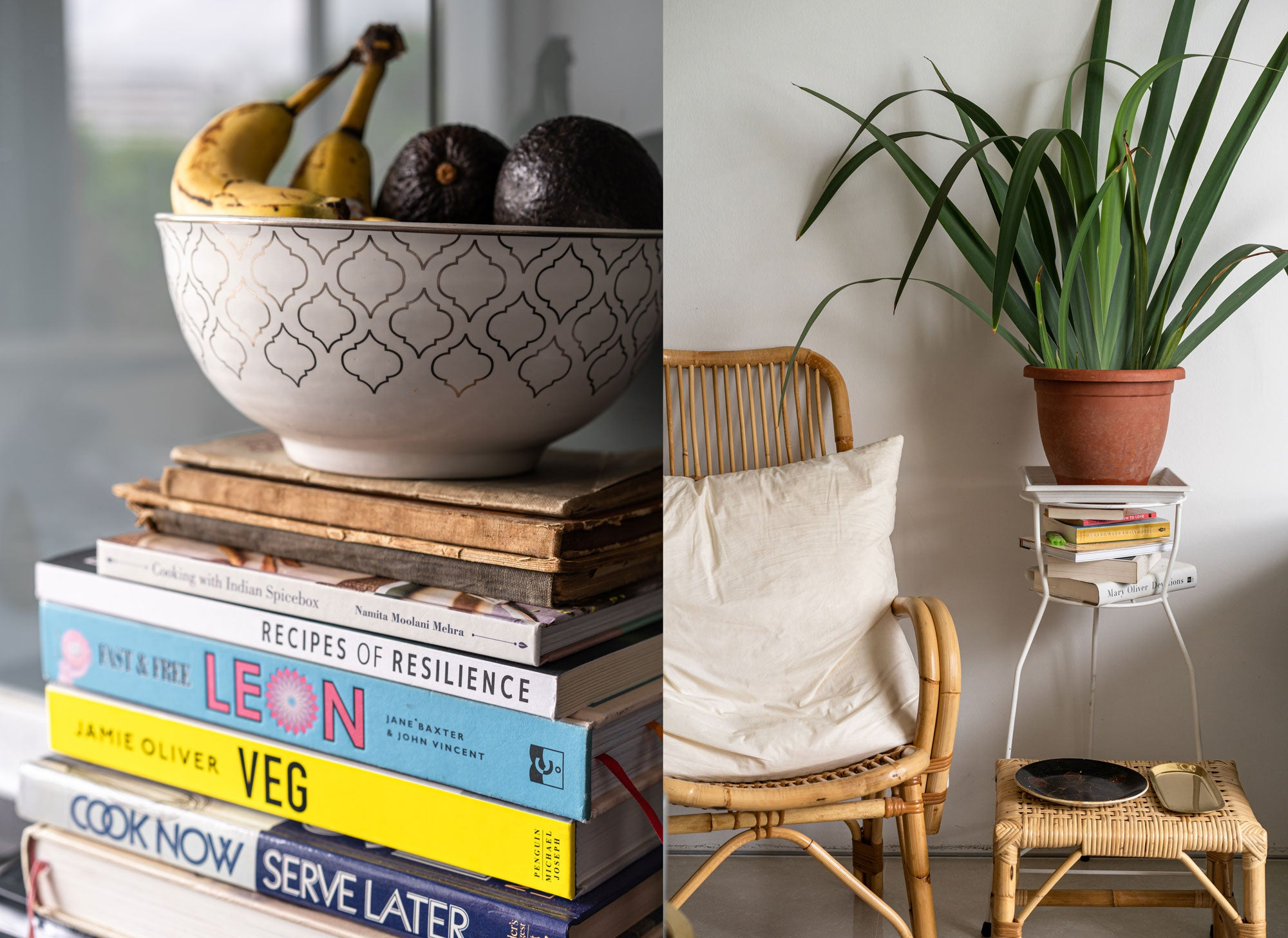 banana and avocado on book stacks and rattan furniture in modern home