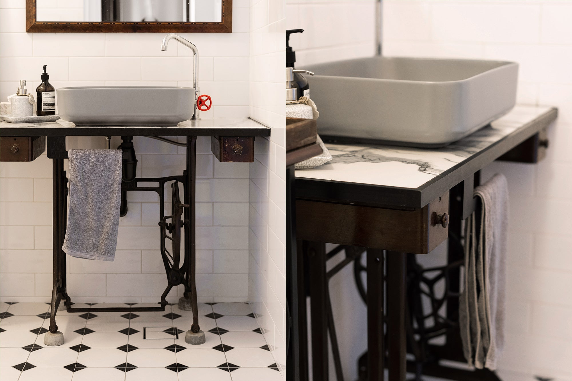 Singer sewing machine upcycle diy interior sink table top singapore ecofriendly