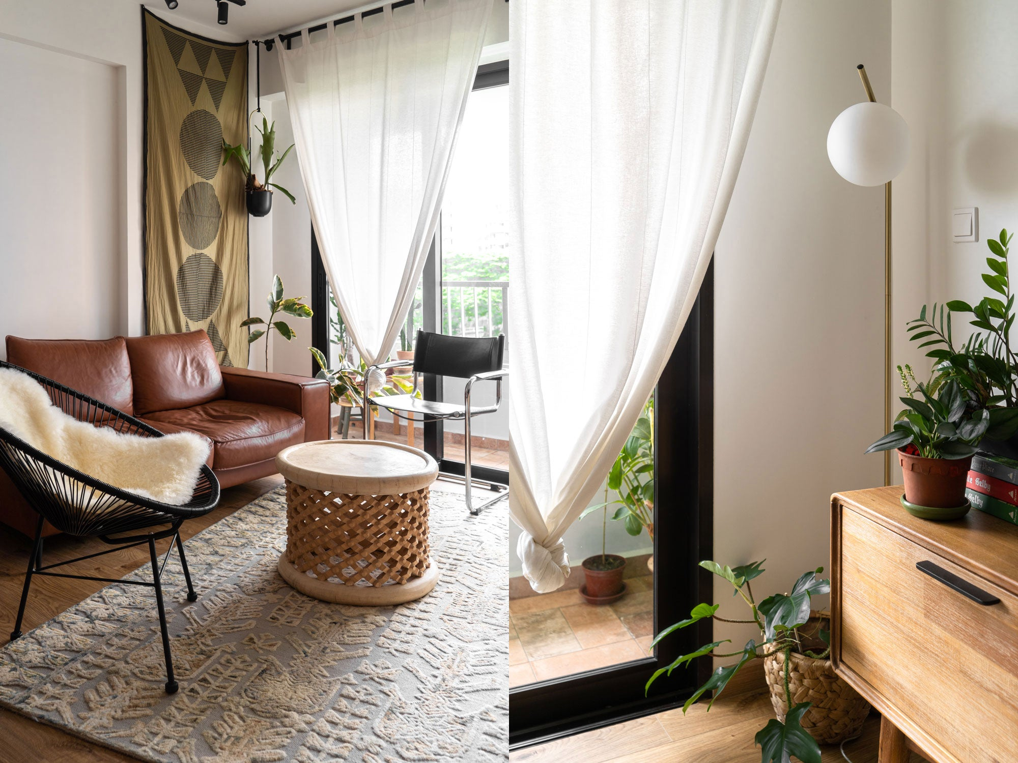 mid-century modern home filled with house plants