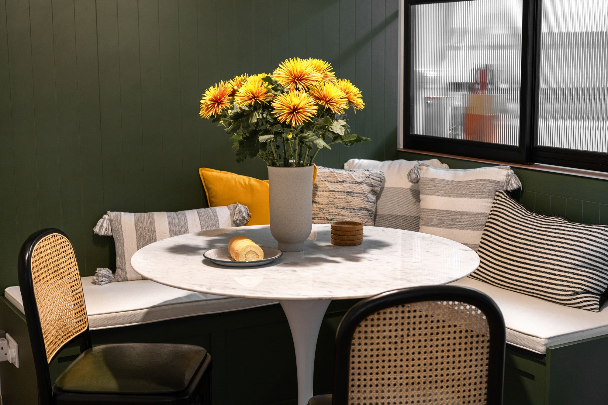 mid-century modern dining room with fresh flowers