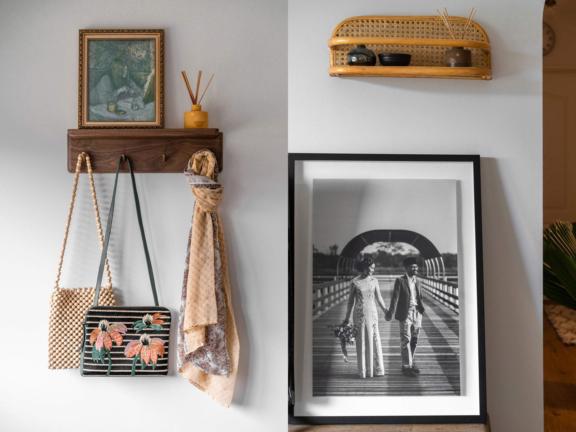 Vintage handbags and scarfs in mid-century modern home