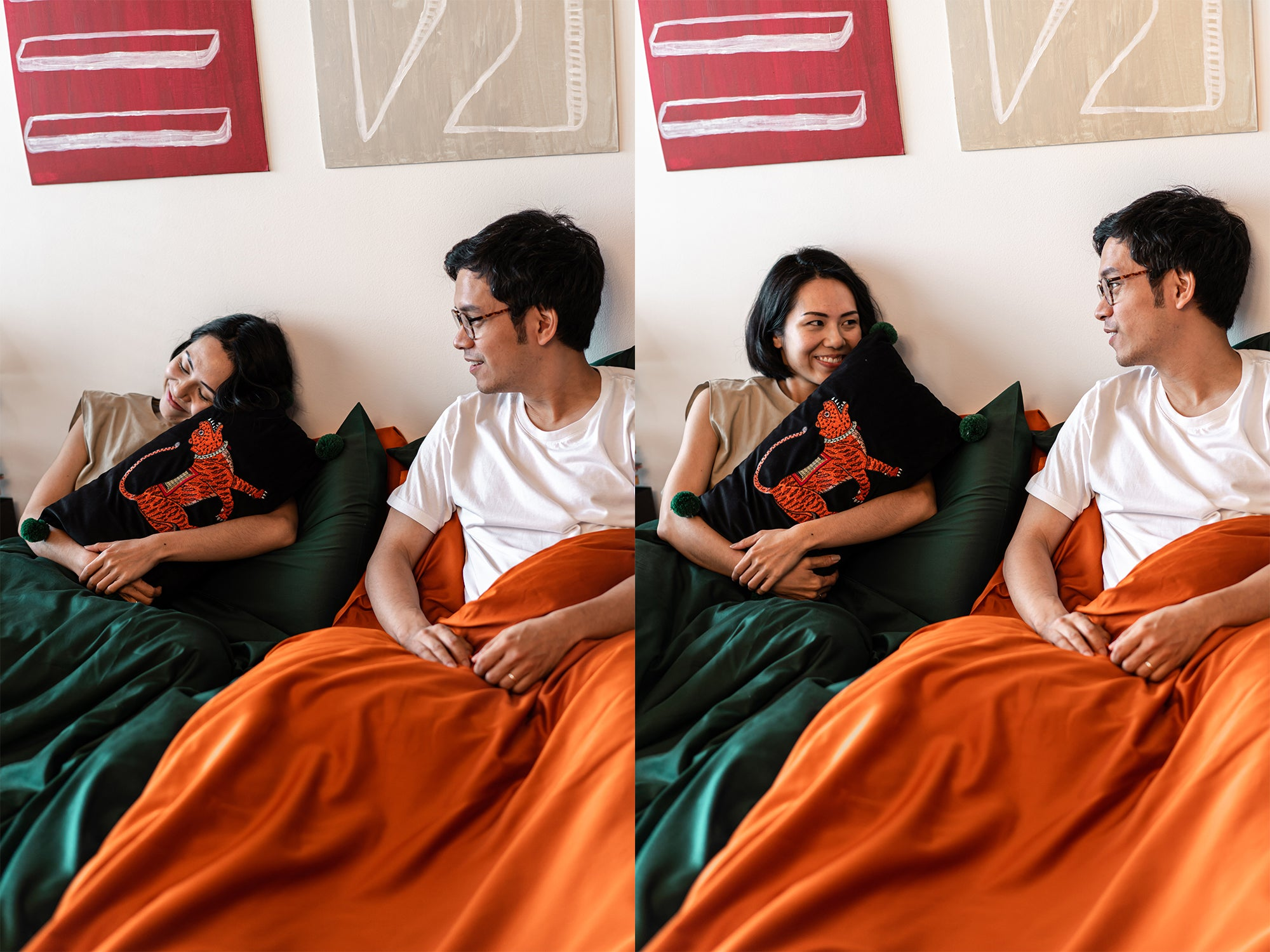 couple in bed with orange and green bedsheets