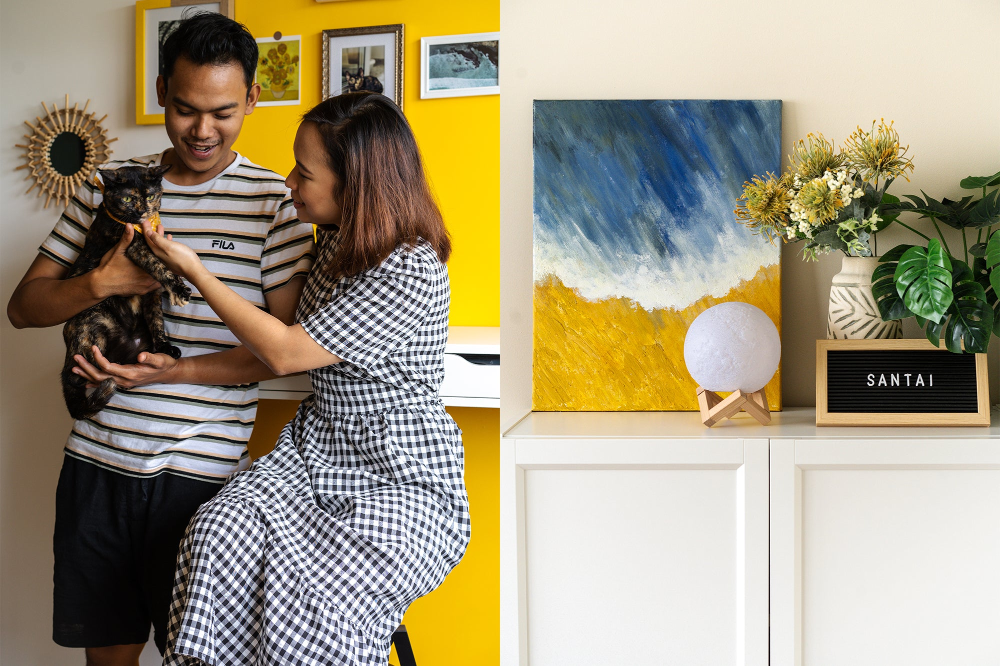 couple with cat in cosy home