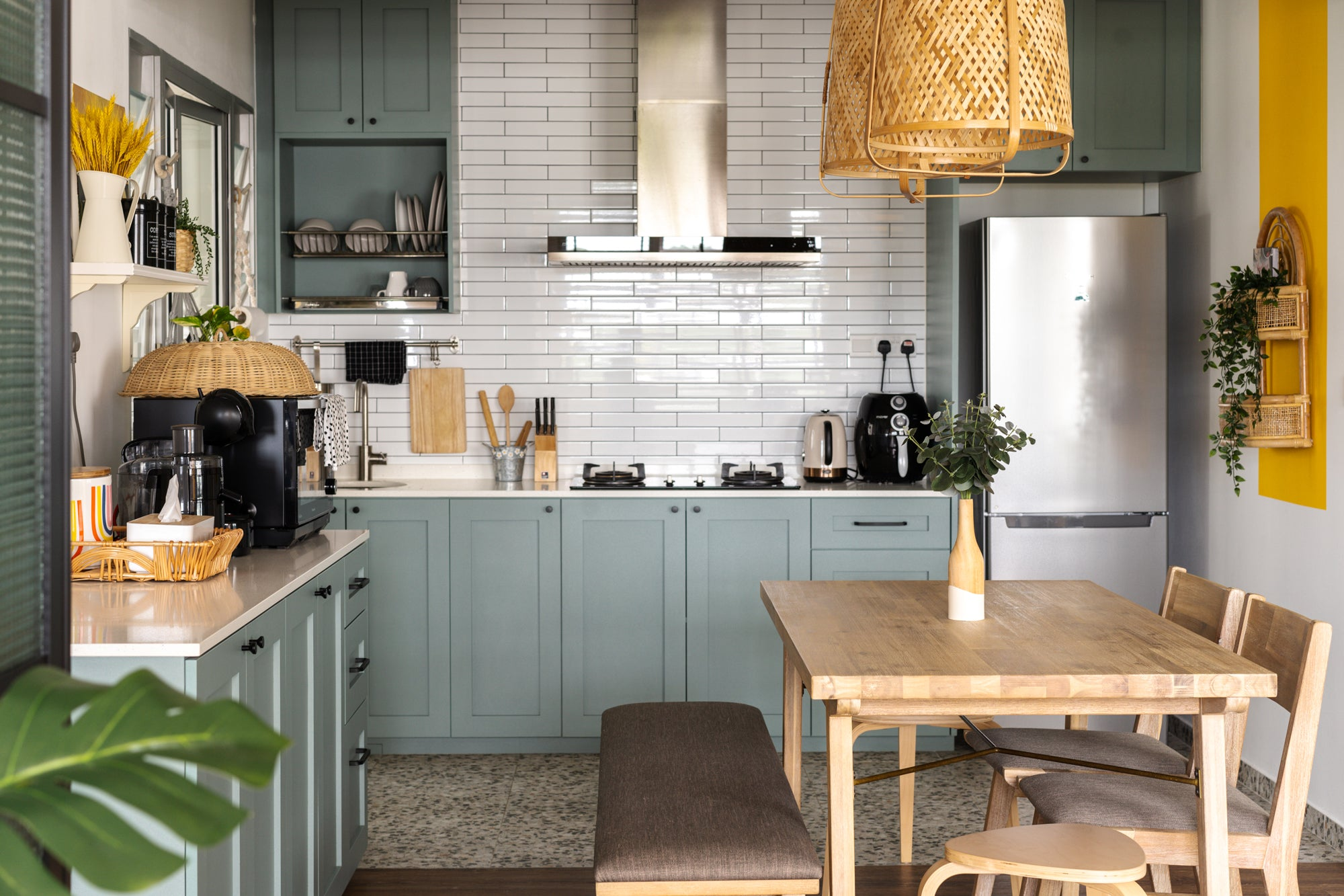modern cottage kitchen with green and brown interior decor