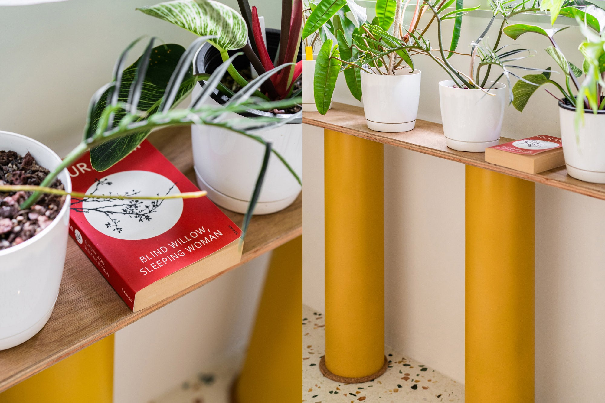 diy plant shelf with wooden top and spray painted yellow pvc pipes