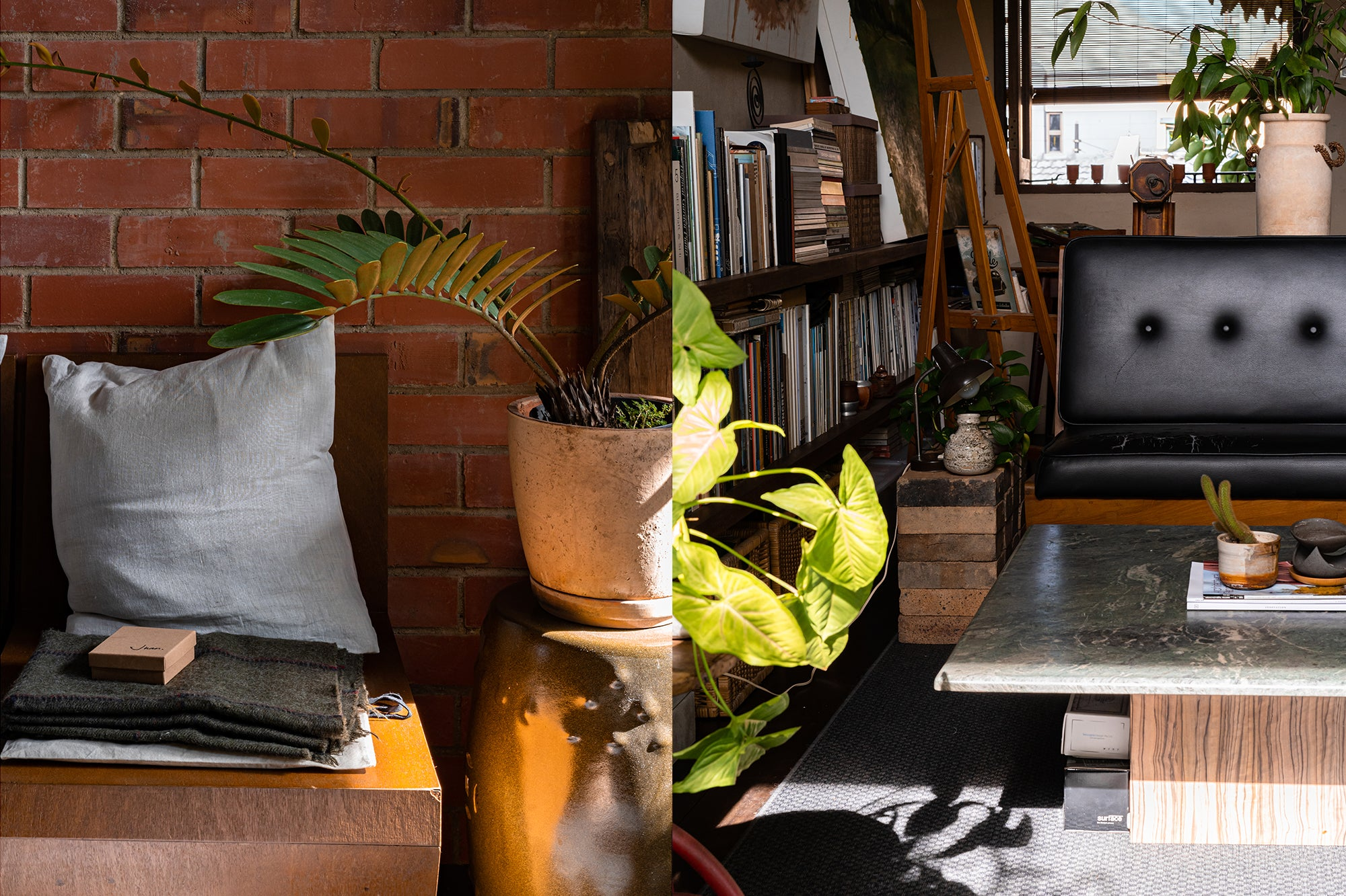 secondhand vintage chair and items with house plants