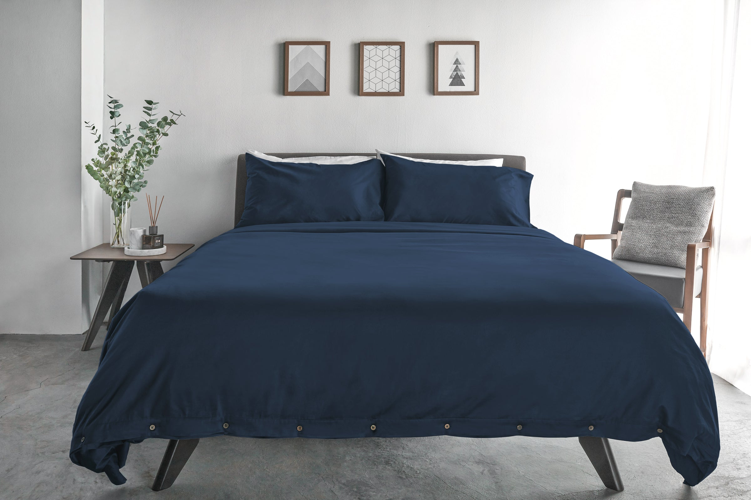 SOJAO Classic Navy 100% GOTS Certified Organic Cotton Luxury Duvet Cover  With Wooden Buttons ...