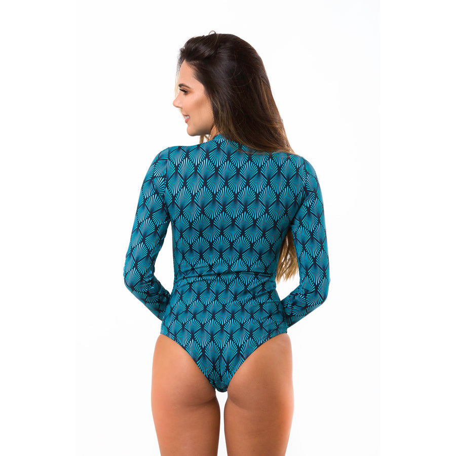 Printed Women's Long Sleeve Sun Protective Swim Suit